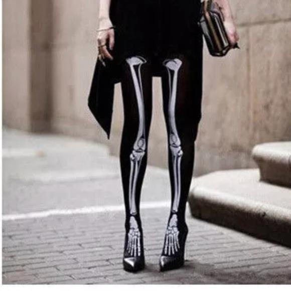 586d48e5eb ☠️Skeleton Bones Black Tights Halloween Costume
